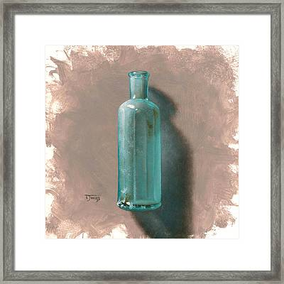 Vintage Blue Bottle Framed Print by Timothy Jones