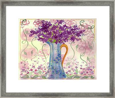 Framed Print featuring the painting Vintage Blue Flower Bouquet by Cathie Richardson