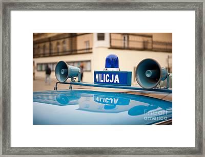 Vintage Blue Militia Car Cherry Framed Print by Arletta Cwalina