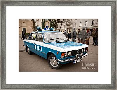 Vintage Blue Militia Car View Framed Print