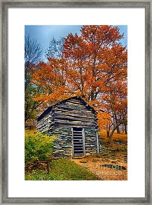 Vintage Blue Ridge Parkway Cabin In Autumn Framed Print by Dan Carmichael