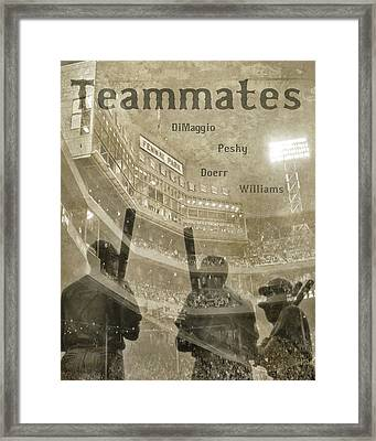 Vintage Boston Red Sox Fenway Park Teammates Statue Framed Print by Joann Vitali