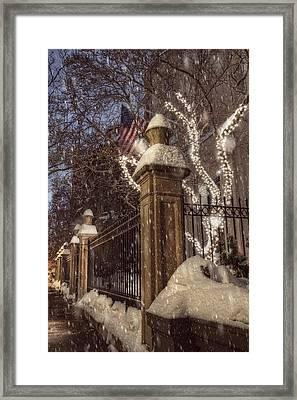 Vintage Boston Sidewalk In Winter Framed Print by Joann Vitali