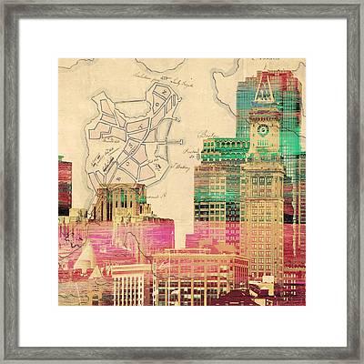 Vintage Boston Skyline Framed Print by Brandi Fitzgerald