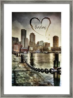 Vintage Boston Skyline Framed Print