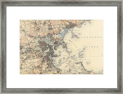 Vintage Boston Transit Line Map - 1914 Framed Print by CartographyAssociates
