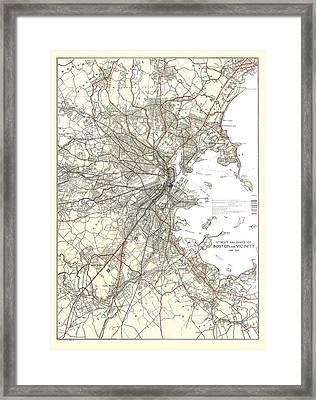 Vintage Boston Transit Line Map  Framed Print by CartographyAssociates