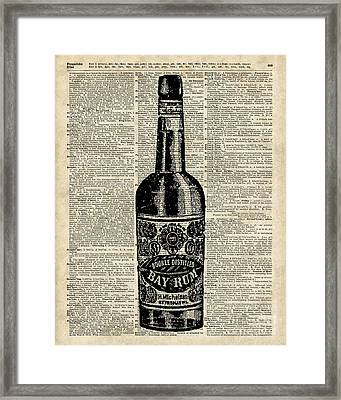 Vintage Bottle Of Rum Over Antique Book Page Framed Print by Jacob Kuch