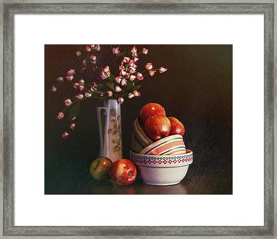 Vintage Bowls With Apples Framed Print
