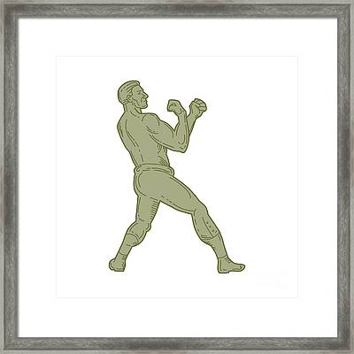 Vintage Boxer Fighting Stance Mono Line Framed Print