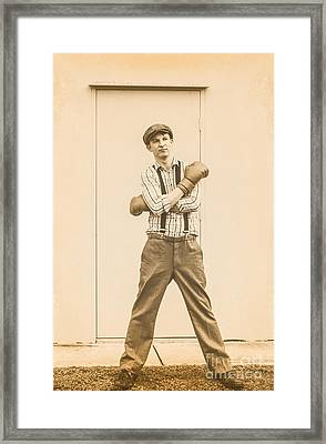 Vintage Boxer Ready For Action Framed Print by Jorgo Photography - Wall Art Gallery