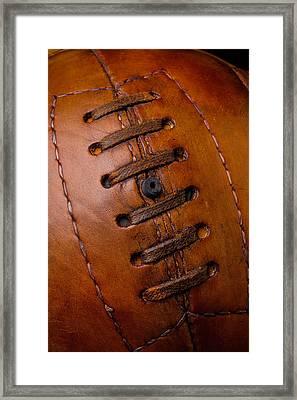 Vintage Brown Soccer Ball Framed Print by Garry Gay