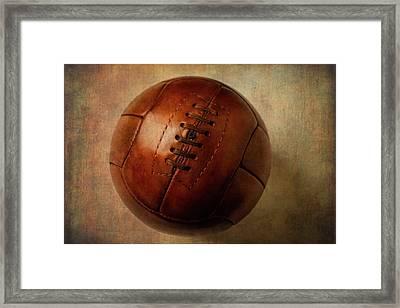 Vintage Brown Soccer Football Framed Print