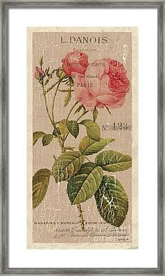 Vintage Burlap Floral 2 Framed Print by Debbie DeWitt