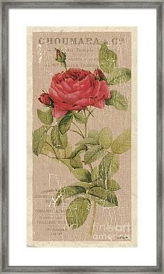 Vintage Burlap Floral Framed Print by Debbie DeWitt