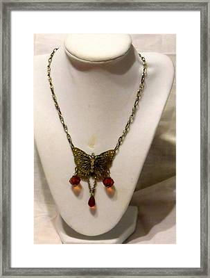 Vintage Butterfly Dreams Necklace Framed Print by Victoria Beasley