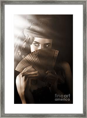 Vintage Cabaret Show Girl In Stage Spotlight Framed Print