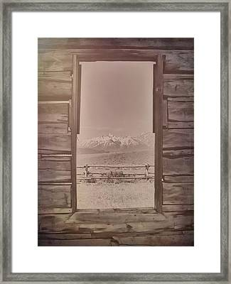 Vintage Cabin Window In Grand Tetons Framed Print
