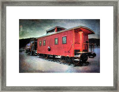 Vintage Caboose - Winter Train Framed Print by Joann Vitali