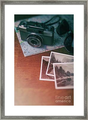 Vintage Camera On Map Framed Print by Carlos Caetano