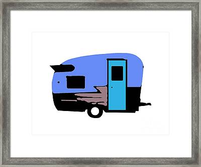 Vintage Camper Trailer Pop Art Blue Framed Print by Edward Fielding