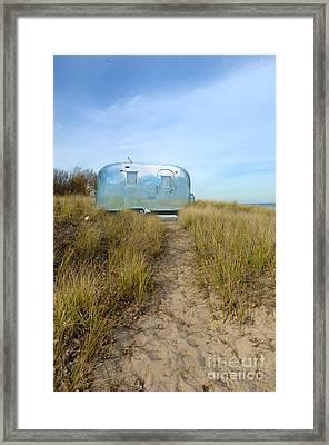 Vintage Camping Trailer Near The Sea Framed Print by Jill Battaglia