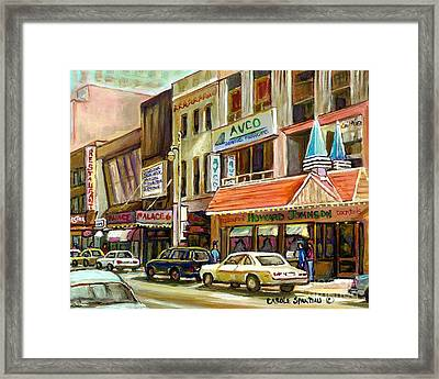 Vintage Canadian Scenes Original Art Downtown Montreal Paintings For Sale Howard Johnson's Resto  Framed Print by Carole Spandau