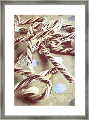 Vintage Candy Canes Framed Print