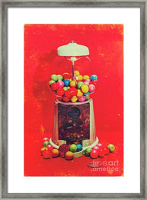 Vintage Candy Store Gum Ball Machine Framed Print