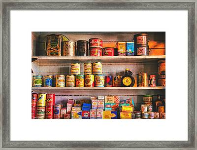 Vintage Canned Goods Framed Print by Anna Louise