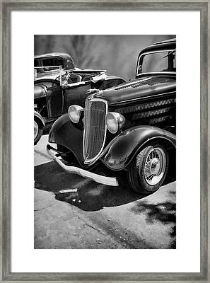 Vintage Car 0161 Bw Art Framed Print by Lesa Fine