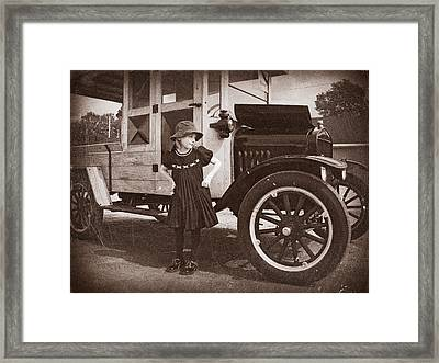 Vintage Car And Old Fashioned Girl Framed Print by Shawna Mac