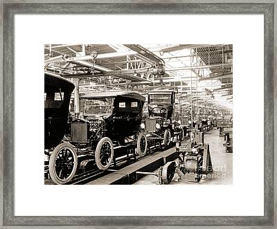 Vintage Car Assembly Line Framed Print by American School