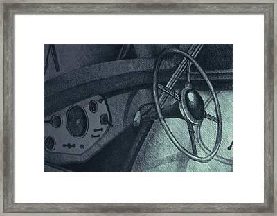 Vintage Car Dashboard Drawing. Illustration Framed Print