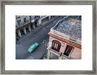 Vintage Car Driving Through The Streets Of Havana Framed Print by Sami Sarkis