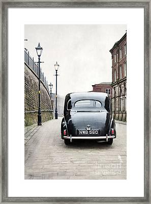 Vintage Car On A Cobbled Street Framed Print