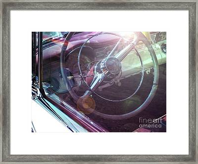 Vintage Car With Sun Reflections Framed Print