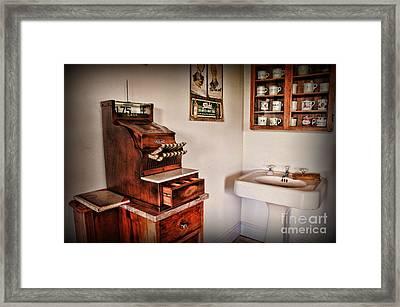 Vintage Cash Register Framed Print by Paul Ward