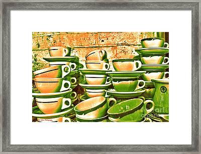 Vintage Cellar Tea Cups Painterly Framed Print