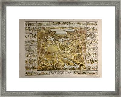Vintage Central Park Nyc Pictorial Map  Framed Print by Adam Shaw
