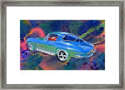 Vintage Chevrolet Corvette Pop Art Framed Print by Lesa Fine