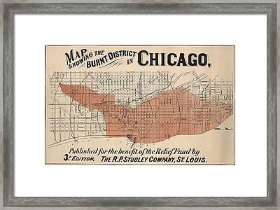 Vintage Chicago Fire Map Framed Print
