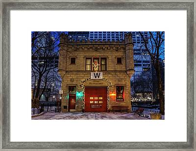 Vintage Chicago Firehouse With Xmas Lights And W Flag Framed Print
