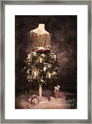 Vintage Christmas Card Framed Print by Amanda Elwell