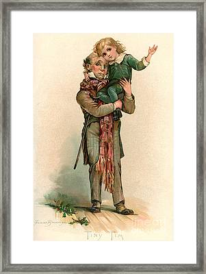 Vintage Christmas Card Depicting Bob Cratchit Carrying Tiny Tim Framed Print by Frances Brundage