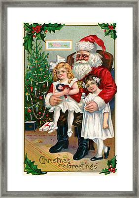 Vintage Christmas Card Depicting Two Victorian Girls With Santa Claus Framed Print by American School