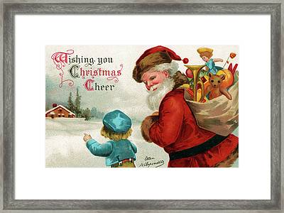 Vintage Christmas Card Framed Print by Ellen Hattie Clapsaddle