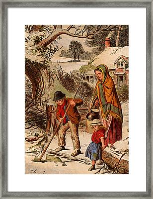 Vintage Christmas Card Framed Print by Unknown