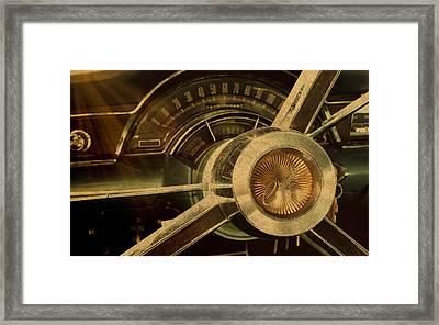 Vintage Chrysler Steering Wheel Framed Print