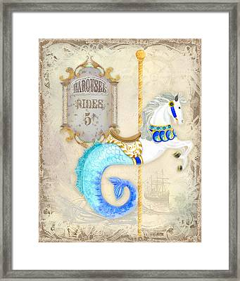 Vintage Circus Carousel - Seahorse Framed Print by Audrey Jeanne Roberts